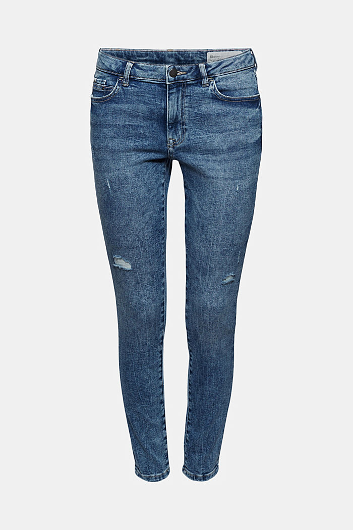 Stretchjeans met een used look, biologisch katoen, BLUE MEDIUM WASHED, overview
