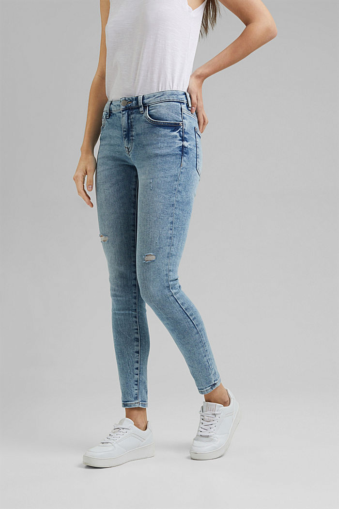 Stretch-Jeans im Used-Look, Organic Cotton, BLUE LIGHT WASHED, detail image number 0