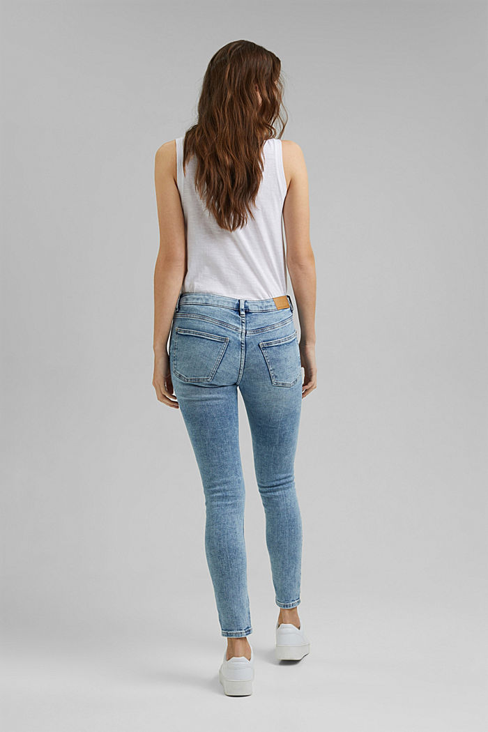 Stretch-Jeans im Used-Look, Organic Cotton, BLUE LIGHT WASHED, detail image number 3