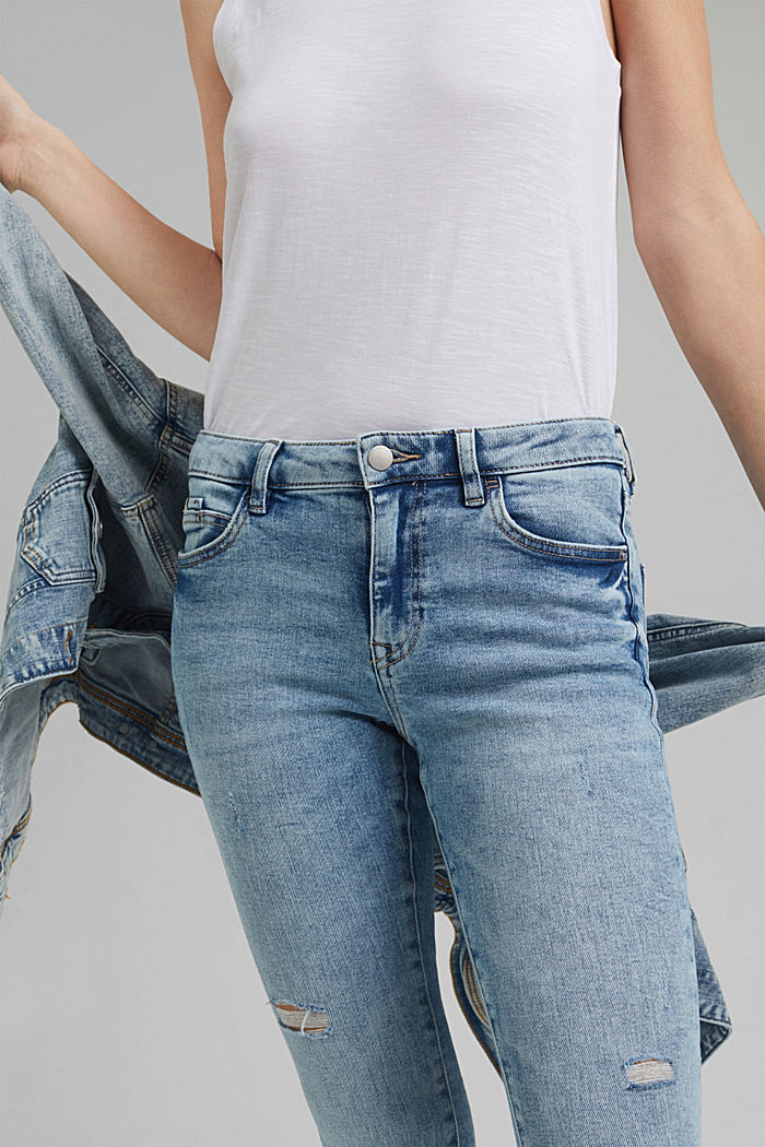 Stretch-Jeans im Used-Look, Organic Cotton, BLUE LIGHT WASHED, detail image number 2