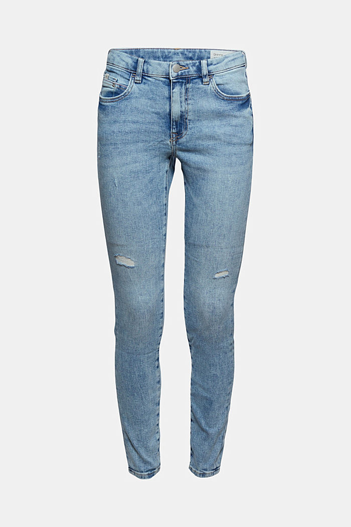 Stretch-Jeans im Used-Look, Organic Cotton, BLUE LIGHT WASHED, detail image number 6