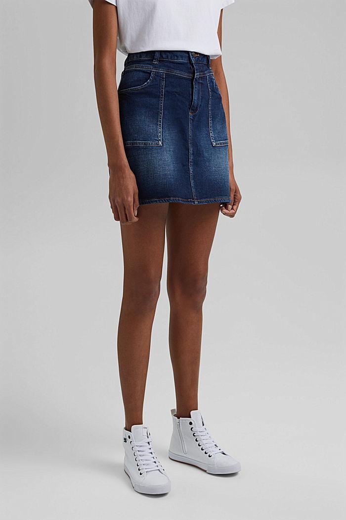 Jeans-Rock aus Organic Cotton, BLUE DARK WASHED, detail image number 0