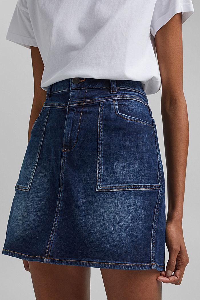 Jeans-Rock aus Organic Cotton, BLUE DARK WASHED, detail image number 2