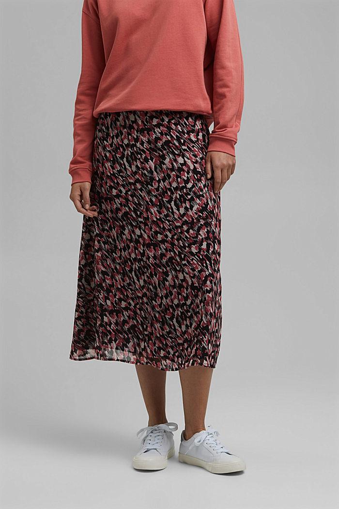 Midi sukně z šifonu, s potiskem, BLACK, detail image number 0