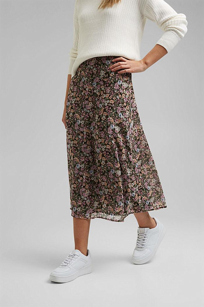 Recycled: chiffon midi skirt, KHAKI GREEN, detail image number 0