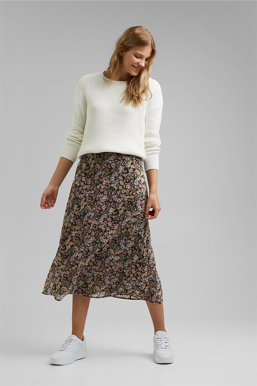 Recycled: chiffon midi skirt