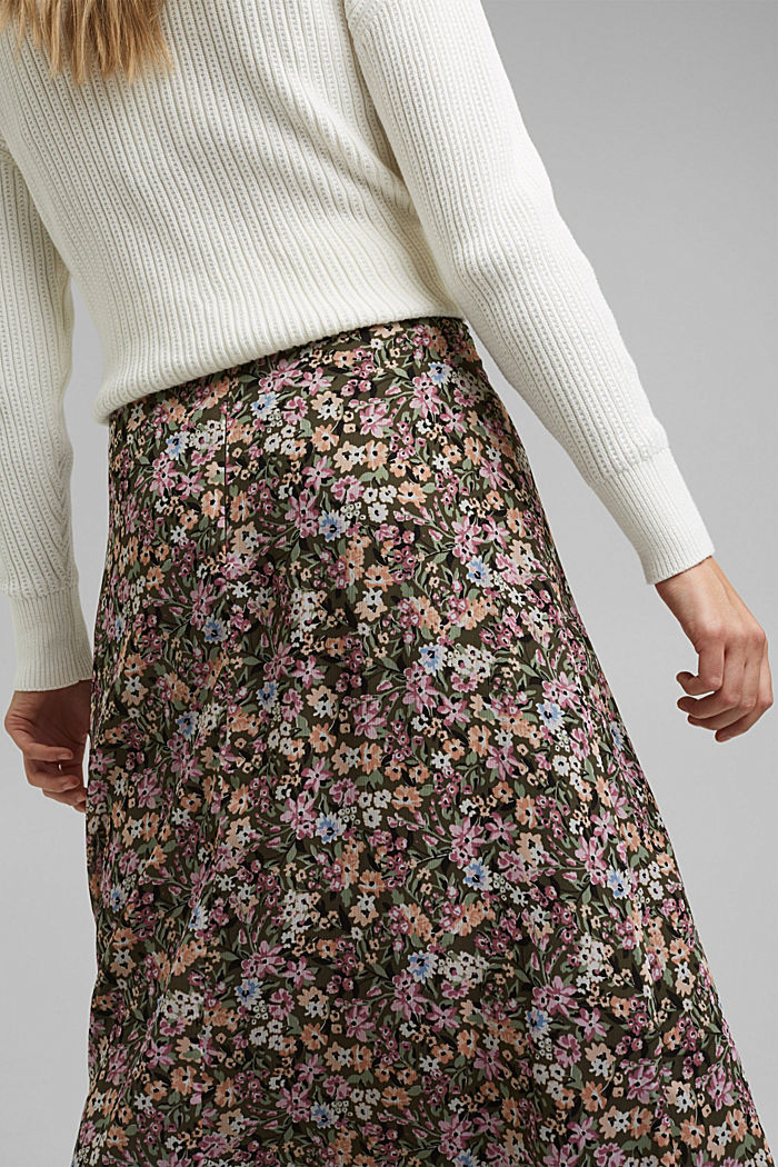 Recycled: chiffon midi skirt, KHAKI GREEN, detail image number 2