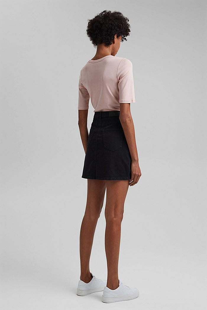 Stretch mini skirt in a utility look, organic cotton, BLACK, detail image number 3