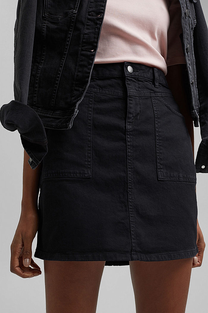 Stretch mini skirt in a utility look, organic cotton, BLACK, detail image number 2
