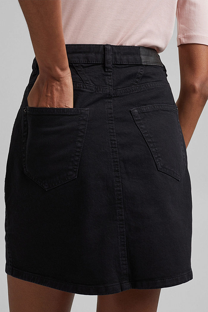 Stretch mini skirt in a utility look, organic cotton, BLACK, detail image number 5