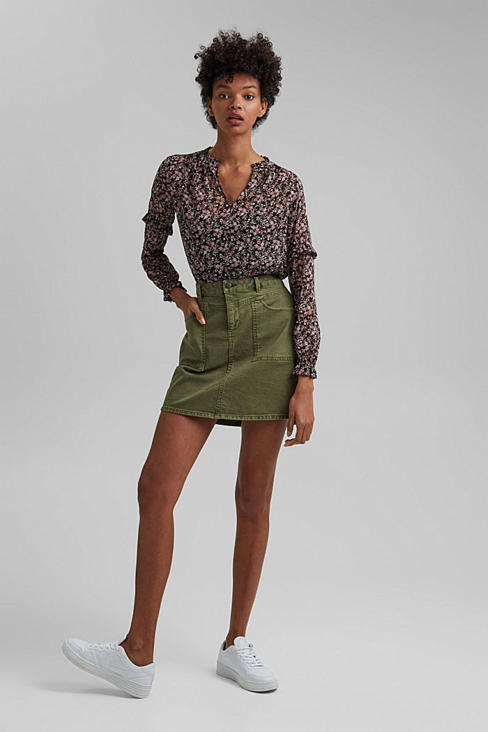 Stretch mini skirt in a utility look, organic cotton, KHAKI GREEN, overview