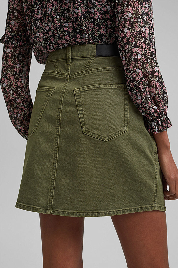 Stretch mini skirt in a utility look, organic cotton, KHAKI GREEN, detail image number 2