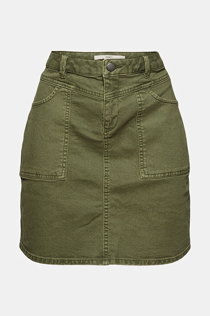 Stretch mini skirt in a utility look, organic cotton, KHAKI GREEN, detail image number 6