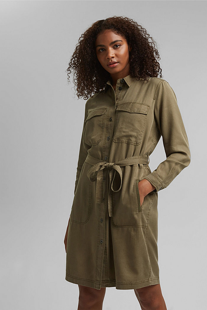 Made of TENCEL™: utility-style dress, KHAKI GREEN, detail image number 0