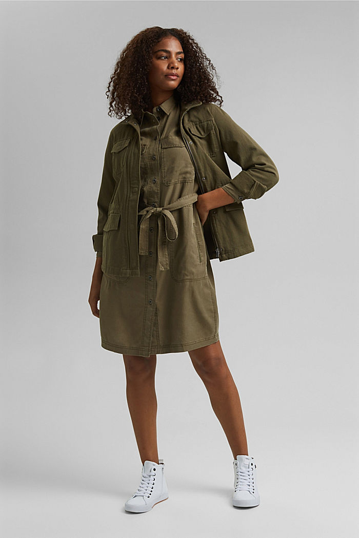 Made of TENCEL™: utility-style dress, KHAKI GREEN, detail image number 1