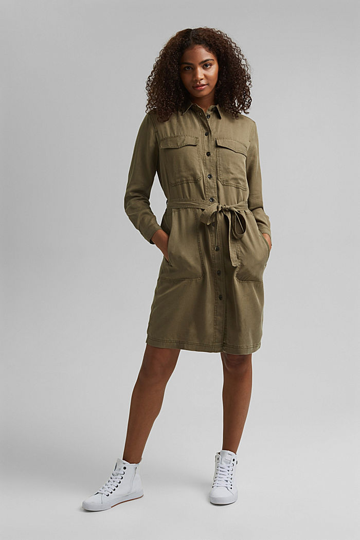 Made of TENCEL™: utility-style dress, KHAKI GREEN, detail image number 5