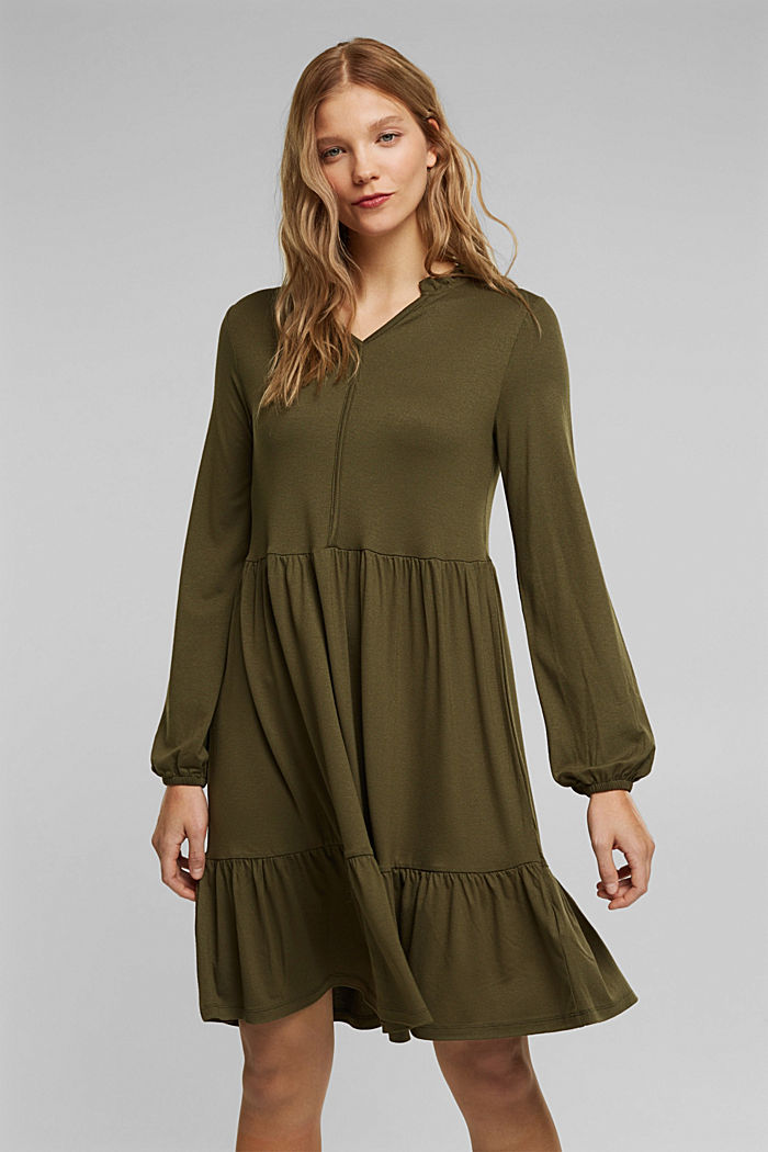 Jersey dress with LENZING™ ECOVERO™, KHAKI GREEN, detail image number 0