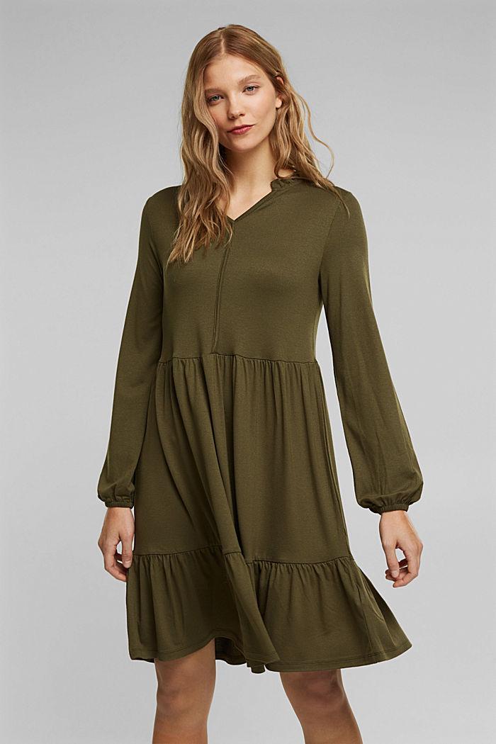 Jersey jurk met LENZING™ ECOVERO™, KHAKI GREEN, detail image number 0