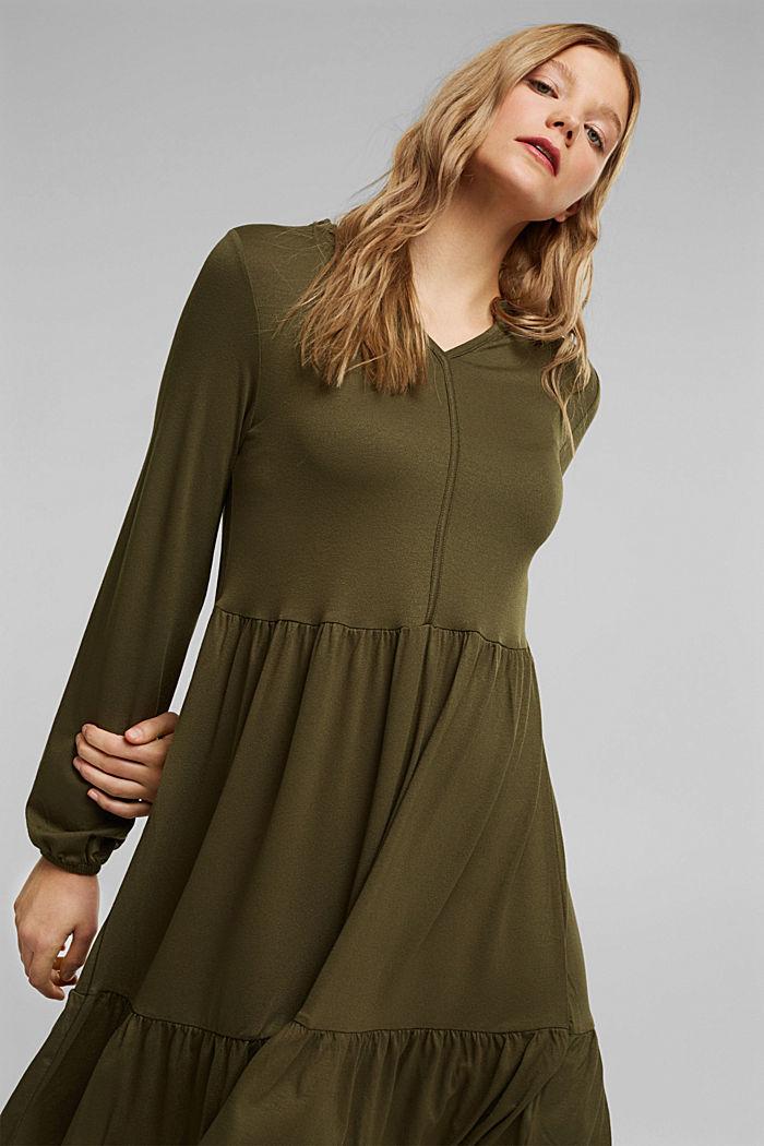 Jersey jurk met LENZING™ ECOVERO™, KHAKI GREEN, detail image number 5