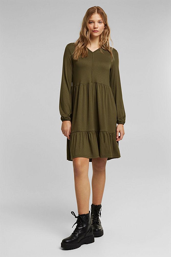 Jersey jurk met LENZING™ ECOVERO™, KHAKI GREEN, detail image number 1