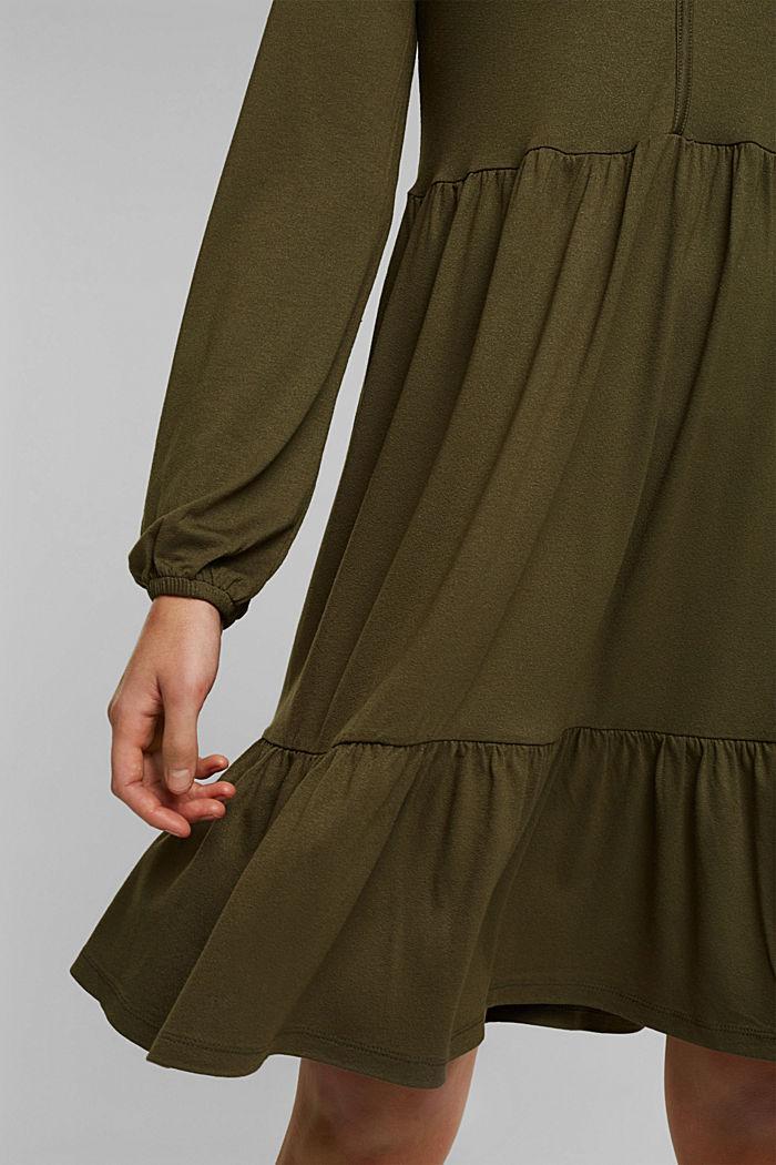 Jersey jurk met LENZING™ ECOVERO™, KHAKI GREEN, detail image number 6