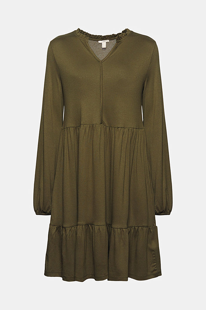 Jersey dress with LENZING™ ECOVERO™, KHAKI GREEN, detail image number 7