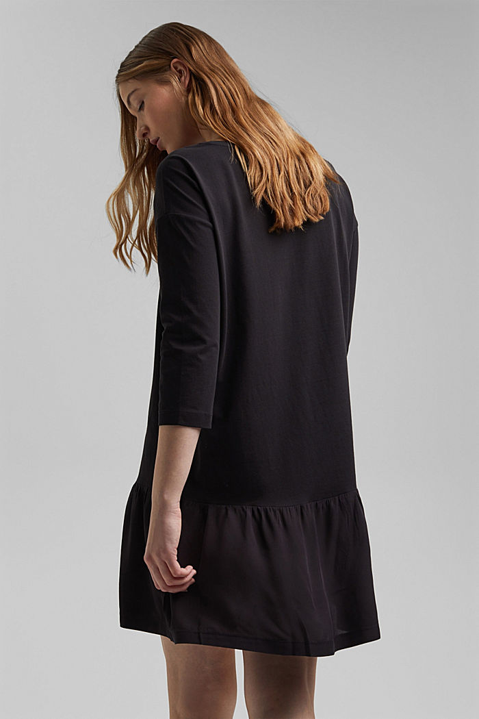 Organic cotton tent dress with a hem frill, BLACK, detail image number 2