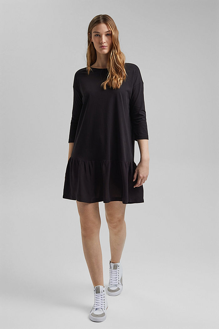 Organic cotton tent dress with a hem frill, BLACK, detail image number 5