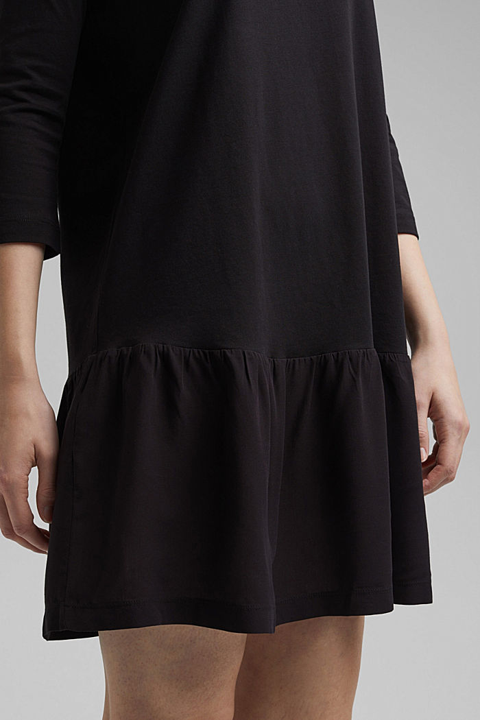 Organic cotton tent dress with a hem frill, BLACK, detail image number 3