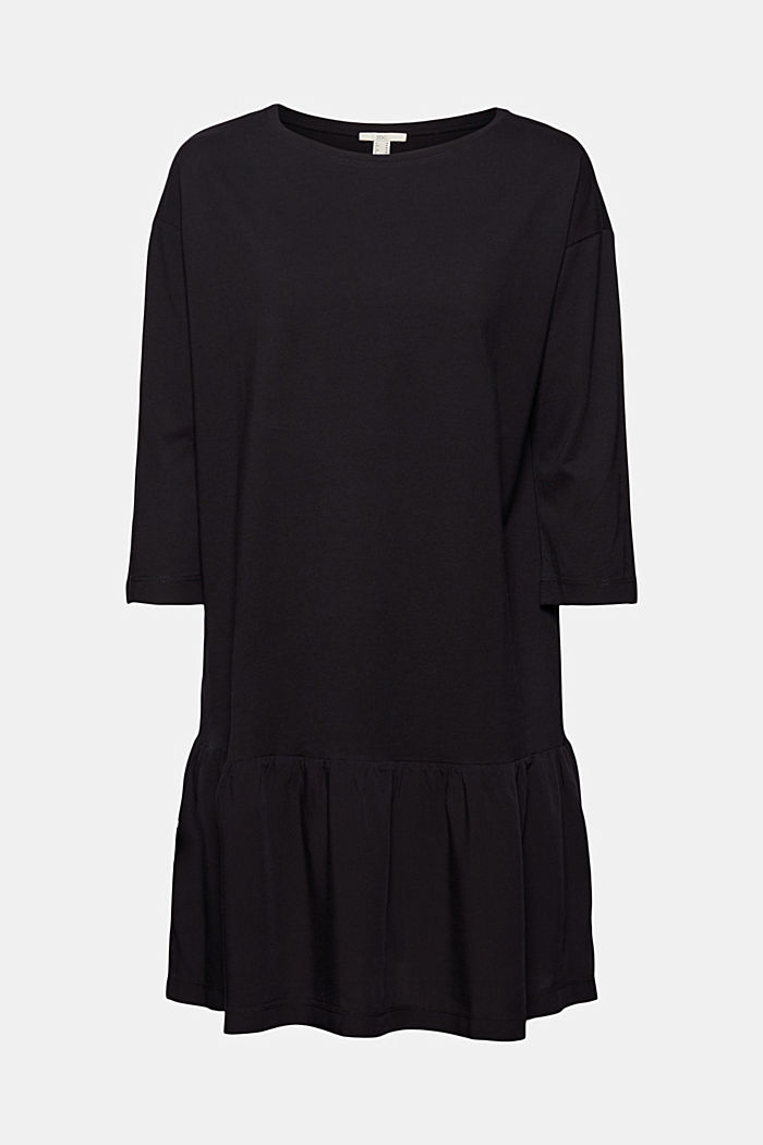 Organic cotton tent dress with a hem frill, BLACK, detail image number 6