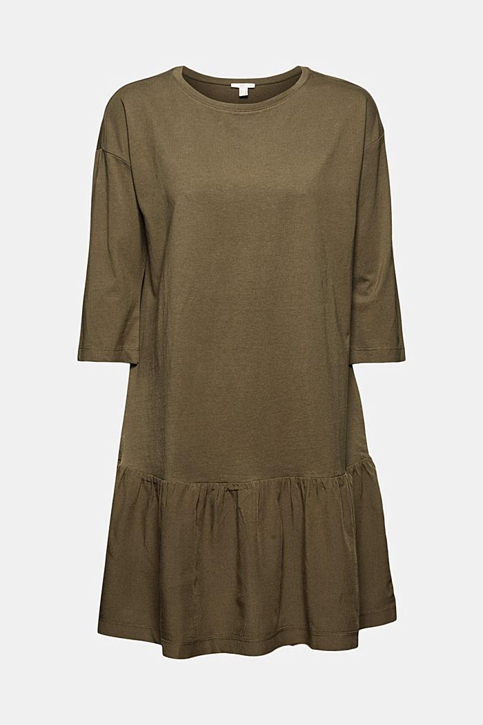 Hängerkleid mit Volantsaum, Organic Cotton, KHAKI GREEN, detail image number 7