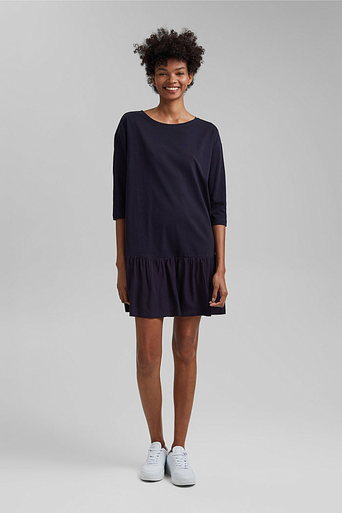 Organic cotton tent dress with a hem frill, NAVY, detail image number 1
