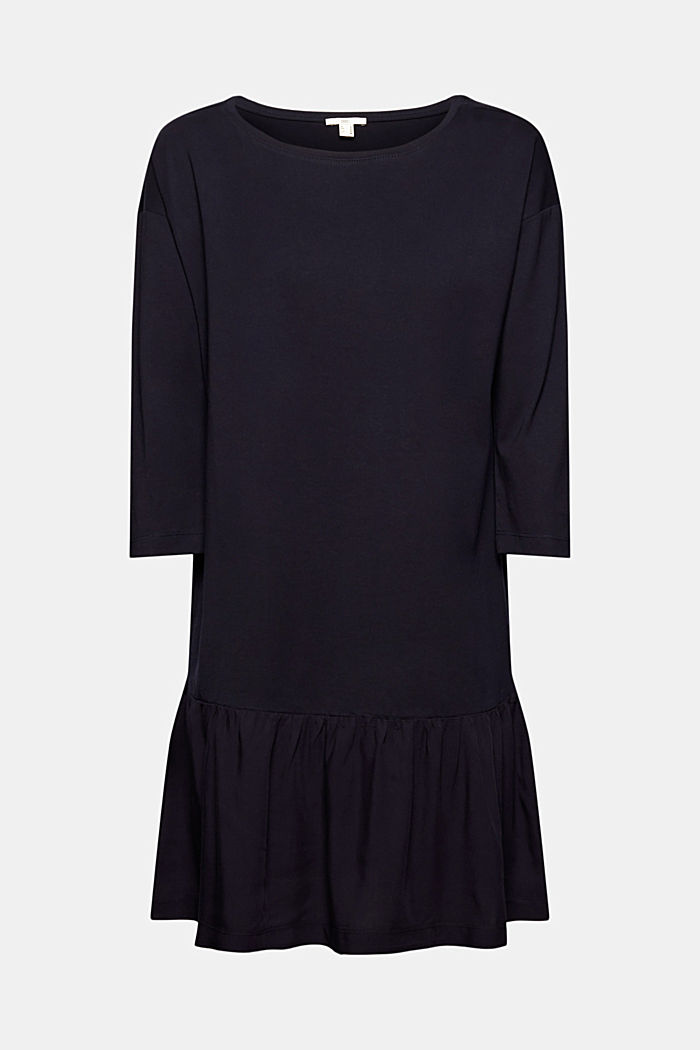Organic cotton tent dress with a hem frill, NAVY, detail image number 6