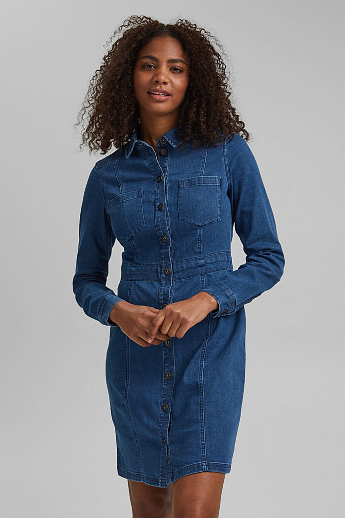 Denim dress in organic cotton, BLUE MEDIUM WASHED, detail image number 0