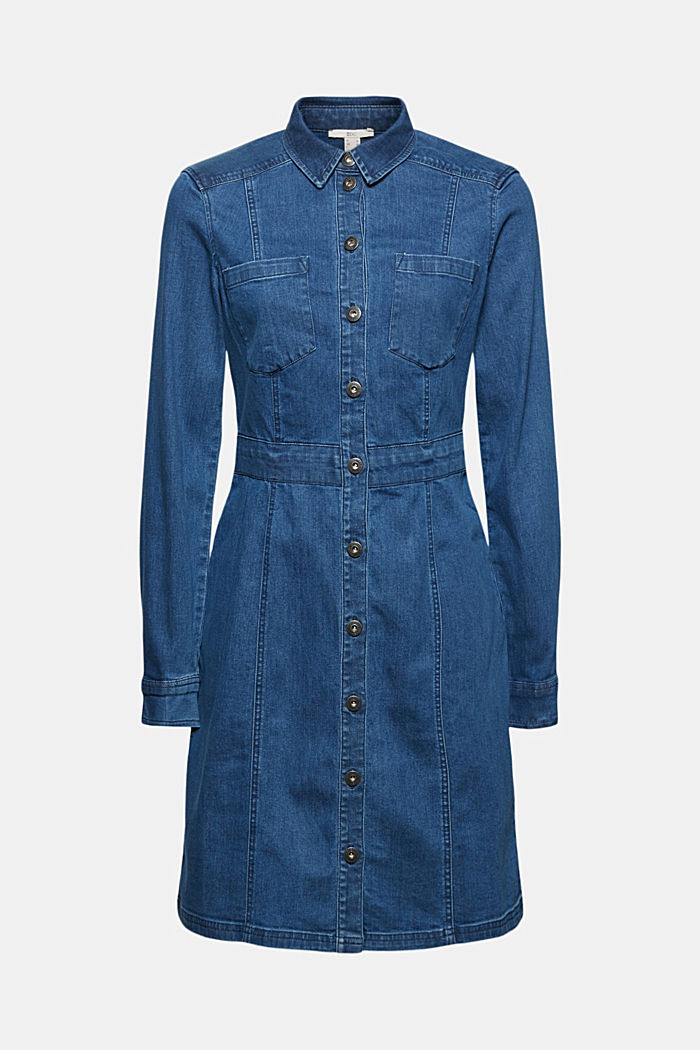 Denim dress in organic cotton, BLUE MEDIUM WASHED, overview