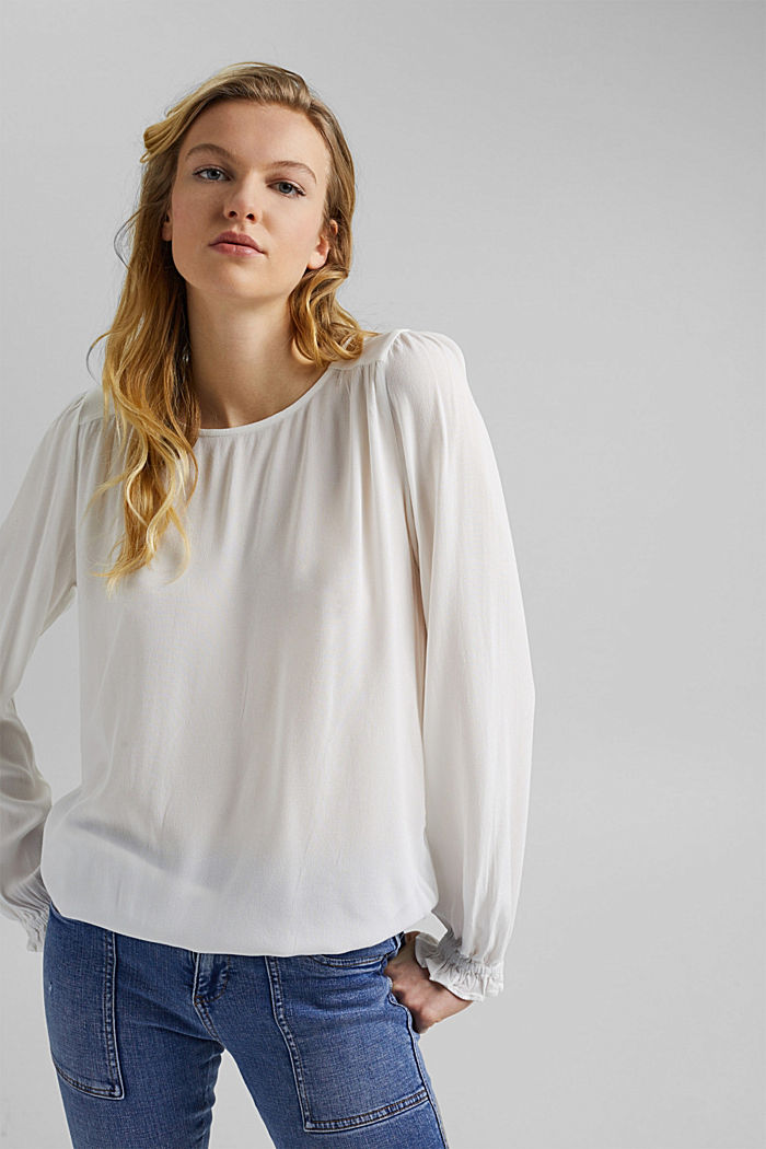 Dainty blouse made of LENZING™ ECOVERO™, OFF WHITE, detail image number 0