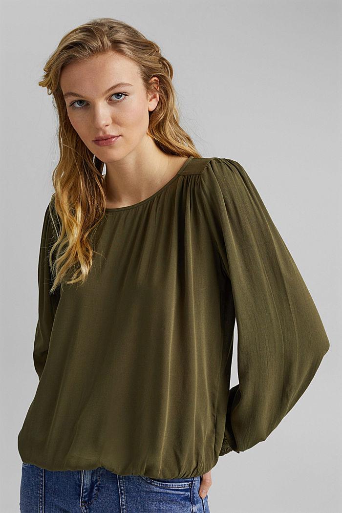 Dainty blouse made of LENZING™ ECOVERO™, KHAKI GREEN, detail image number 0