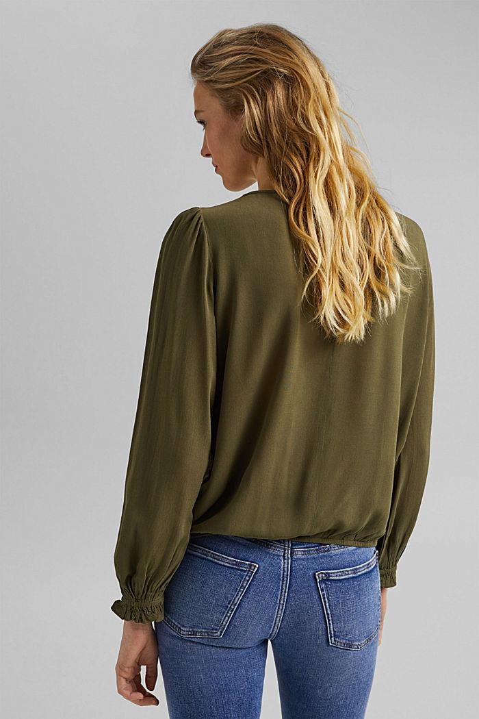 Dainty blouse made of LENZING™ ECOVERO™, KHAKI GREEN, detail image number 3