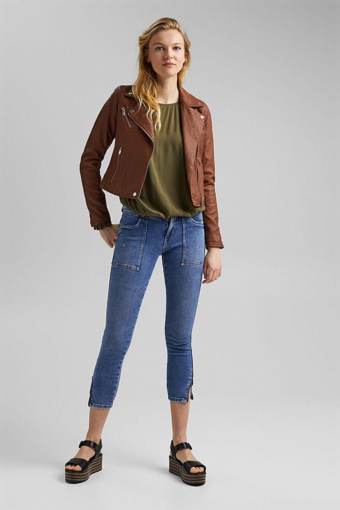 Dainty blouse made of LENZING™ ECOVERO™, KHAKI GREEN, detail image number 1
