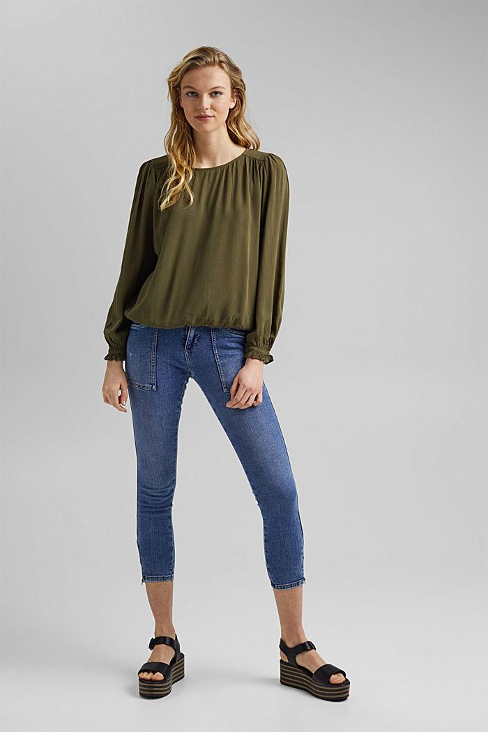 Dainty blouse made of LENZING™ ECOVERO™, KHAKI GREEN, detail image number 8