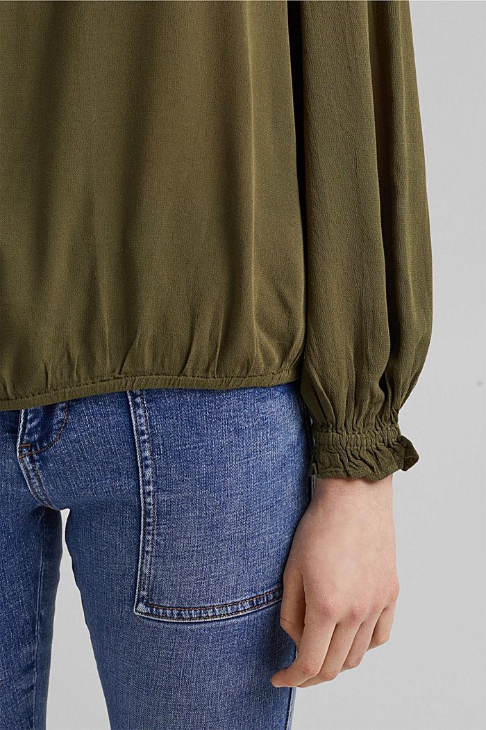 Dainty blouse made of LENZING™ ECOVERO™, KHAKI GREEN, detail image number 5