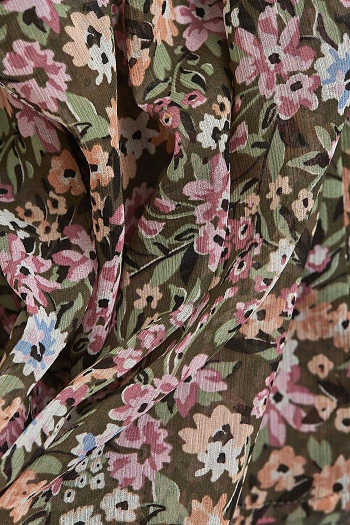Recycelt: Chiffonbluse mit Rüschen, KHAKI GREEN, detail image number 4