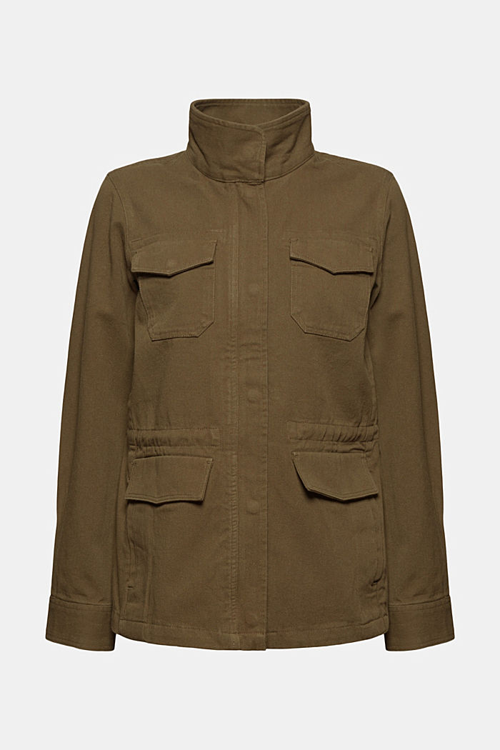 Utility jacket in 100% organic cotton, KHAKI GREEN, overview