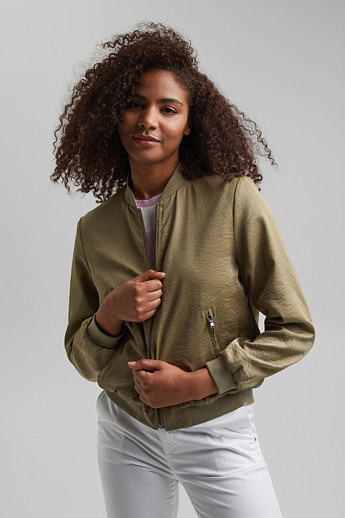 Lightweight bomber jacket with a creased texture, LIGHT KHAKI, detail image number 0