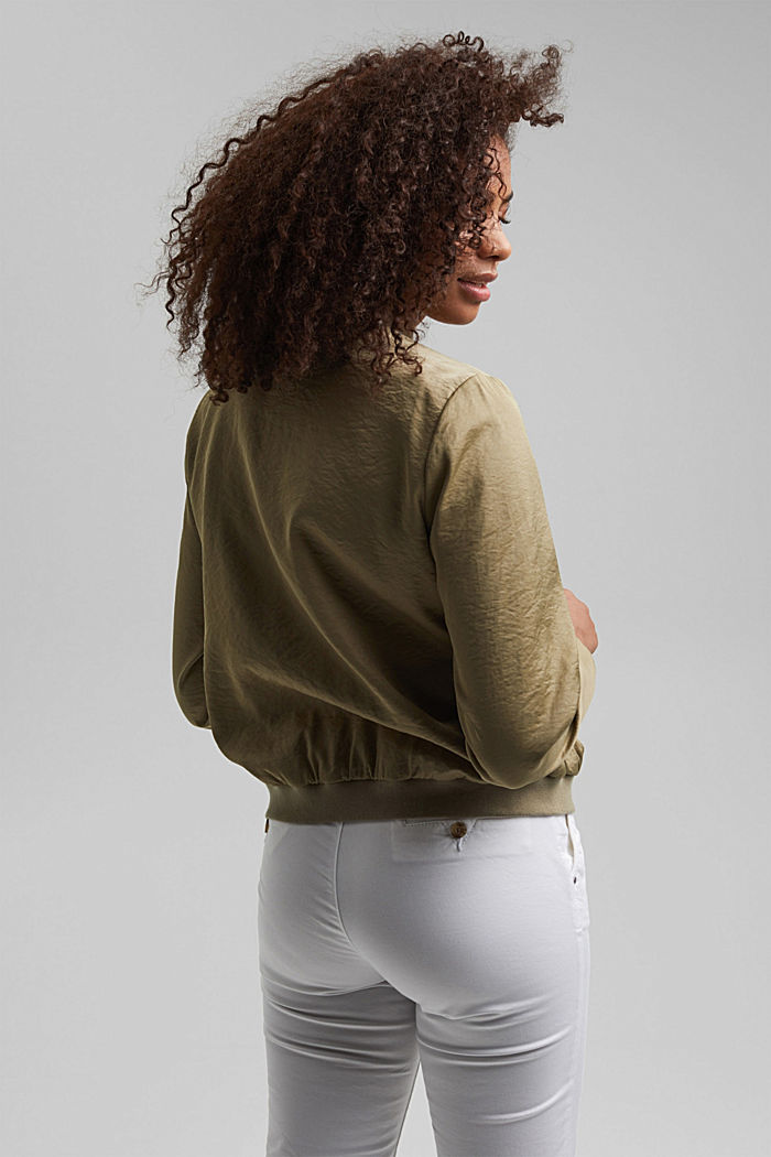 Lightweight bomber jacket with a creased texture, LIGHT KHAKI, detail image number 3