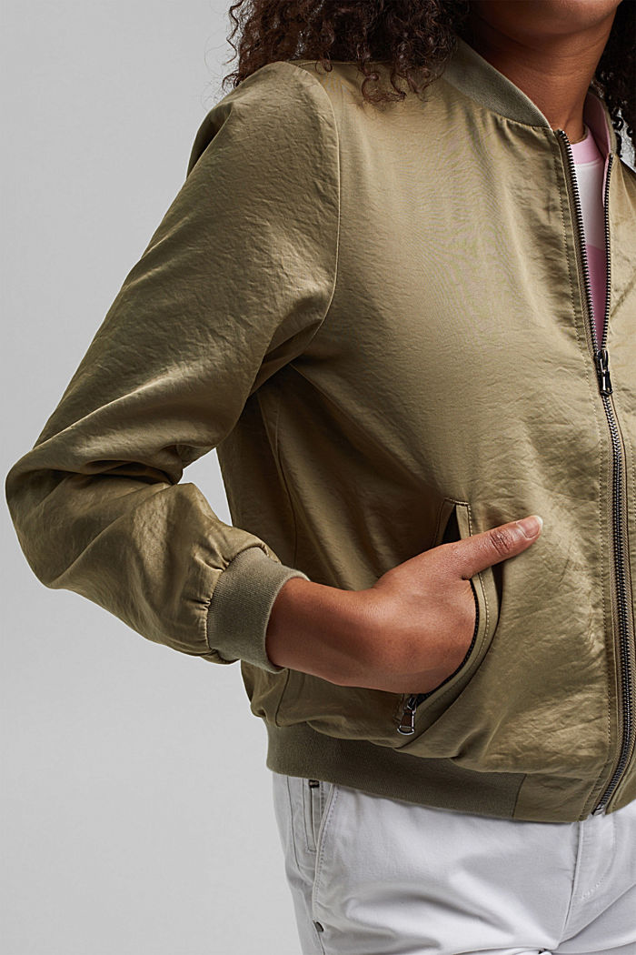 Lightweight bomber jacket with a creased texture, LIGHT KHAKI, detail image number 2