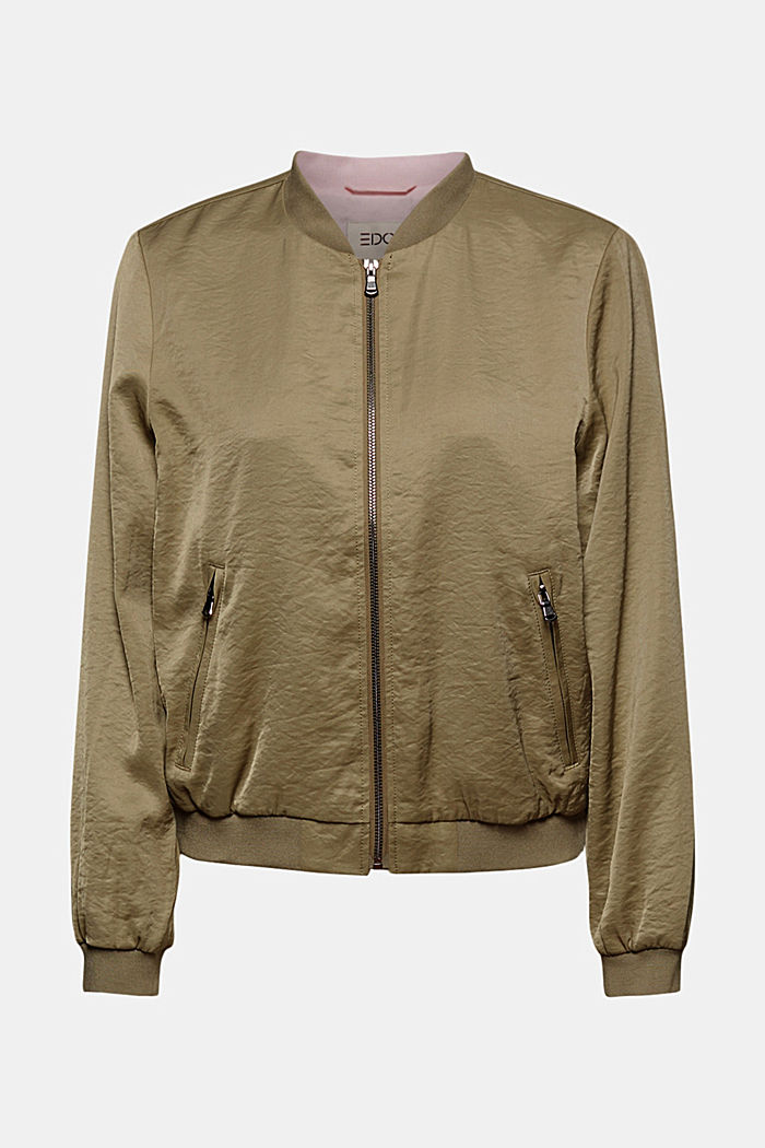 Leichte Bomber-Jacke mit Crash-Struktur, LIGHT KHAKI, detail image number 6