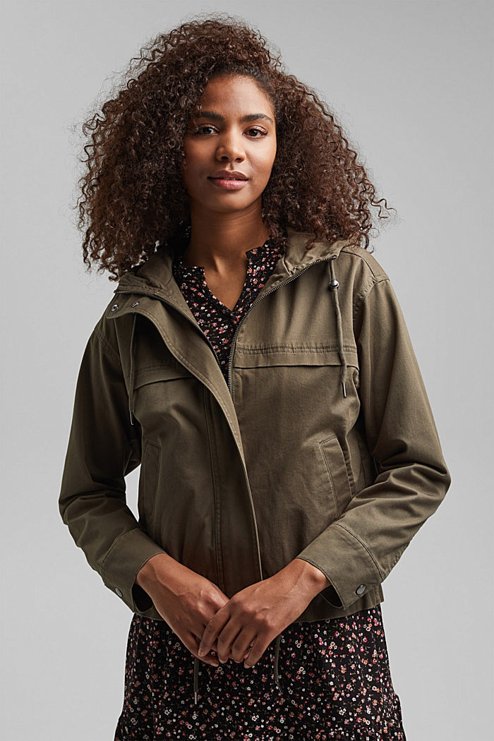 Hooded jacket with a drawstring, stretch cotton, KHAKI GREEN, detail image number 0