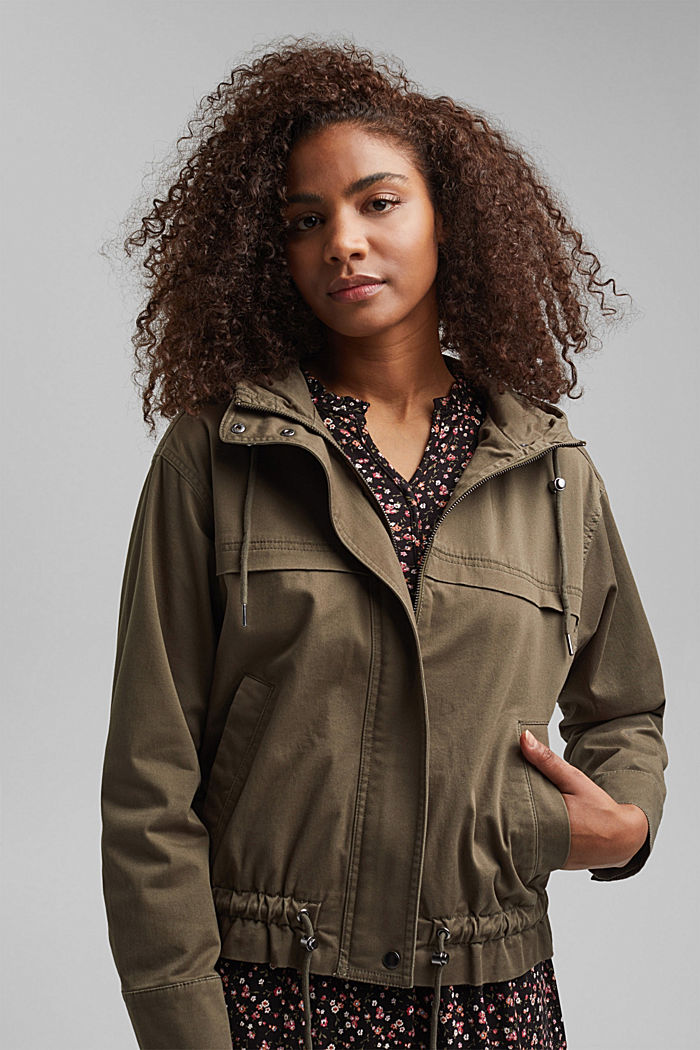 Hooded jacket with a drawstring, stretch cotton, KHAKI GREEN, detail image number 6