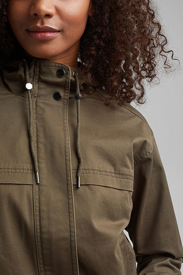 Hooded jacket with a drawstring, stretch cotton, KHAKI GREEN, detail image number 2